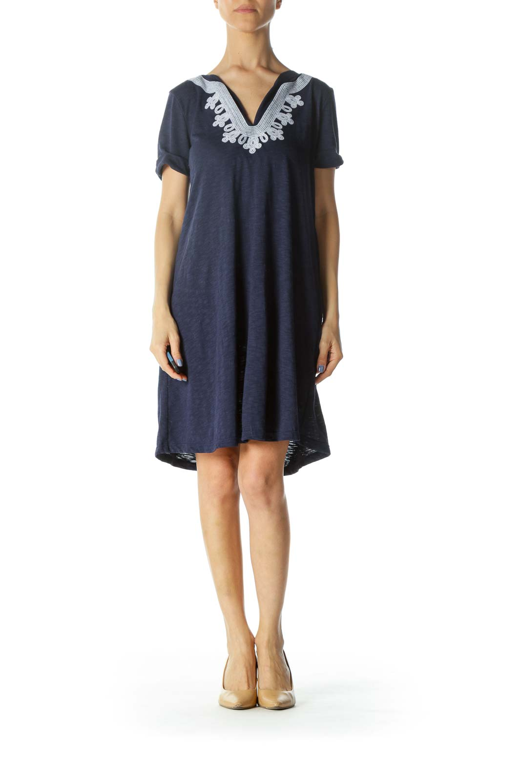 Blue/White Embroidered Short-Sleeve Jersey Day Dress