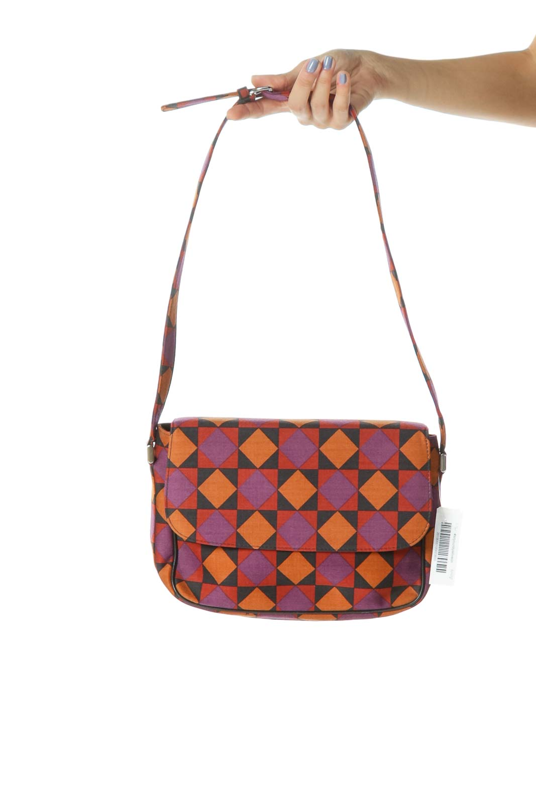 Orange/Purple/Black Geometric Print Shoulder Bag