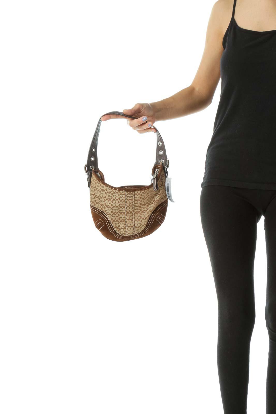 Brown Suede Leather Buckle Monogrammed Shoulder Bag