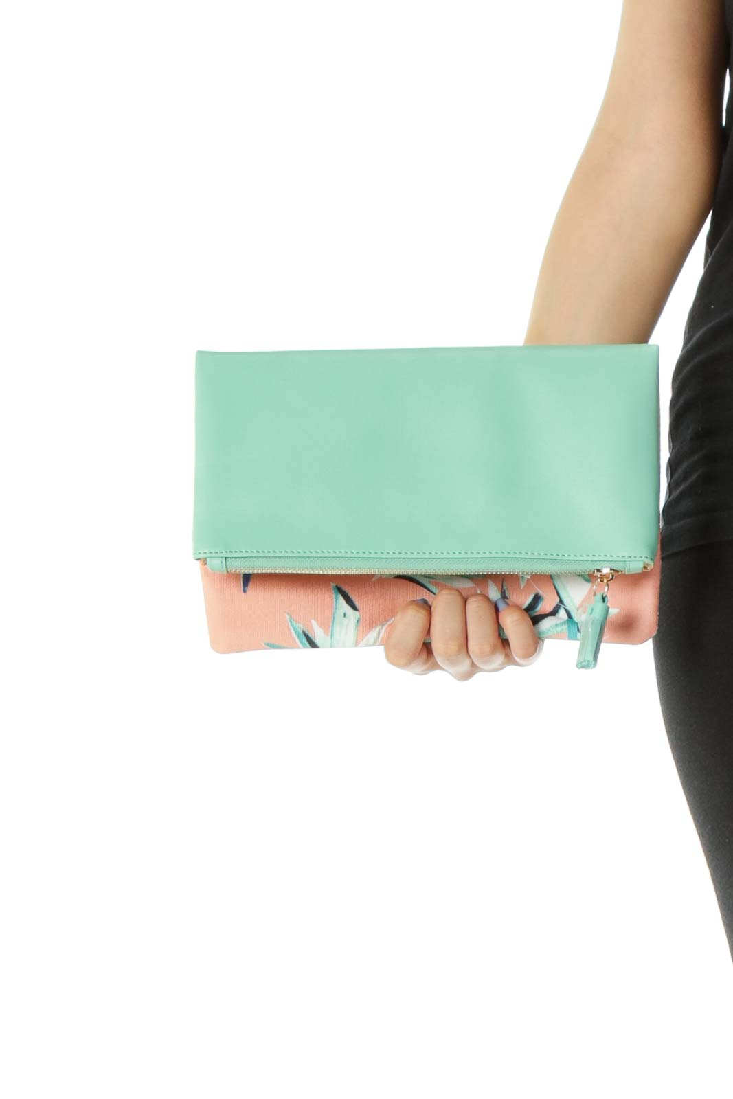Mint-Green/Orange Plant-Print Zippered Clutch