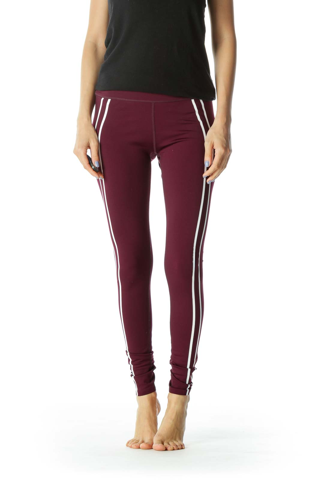 Burgundy/White Side-Stripes Activewear Leggings