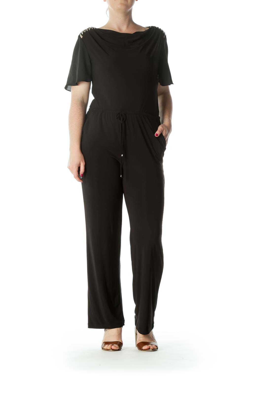 Black Jumpsuit with Metal Detail