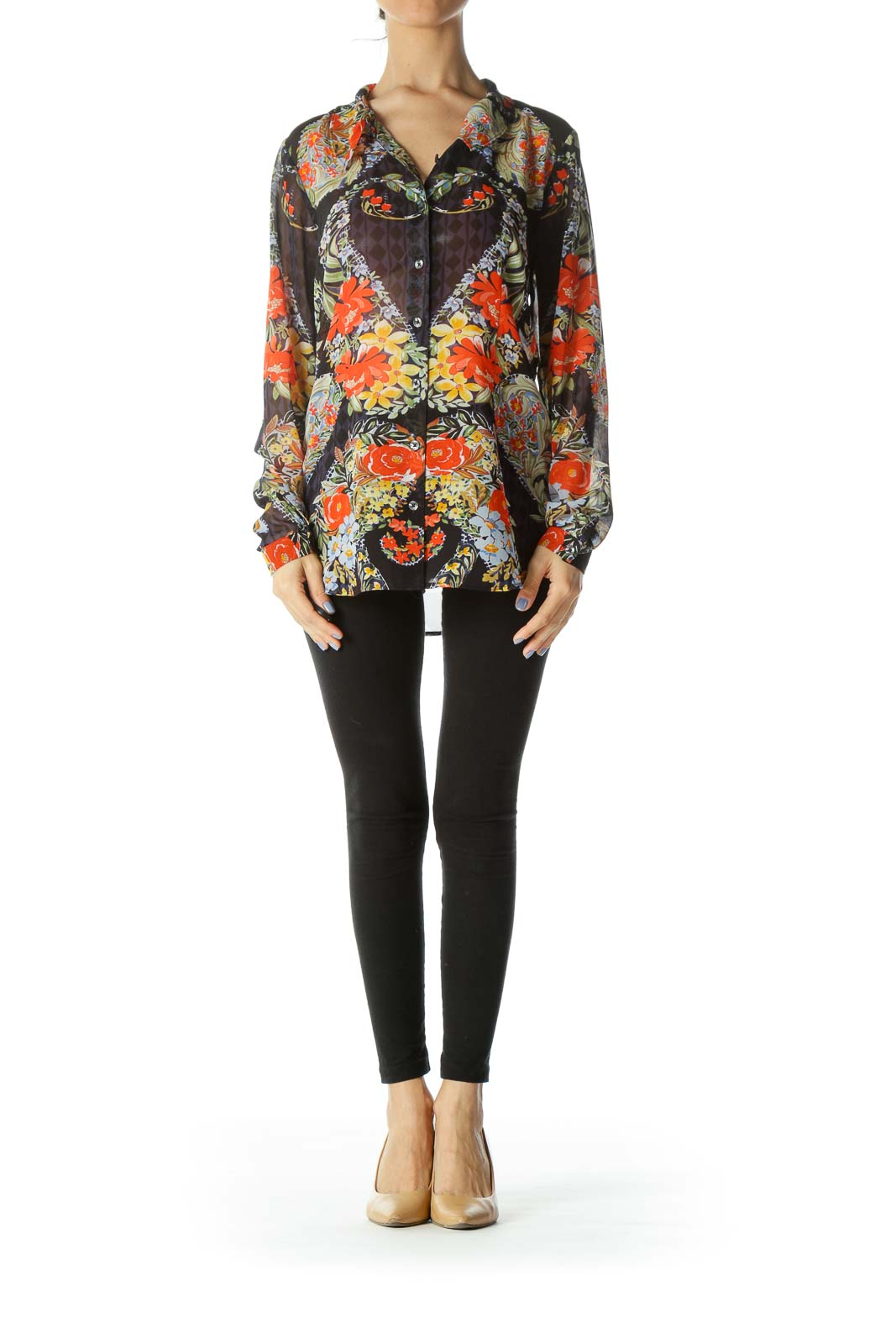 Multicolored See-Through Floral-Print Long-Sleeve Blouse