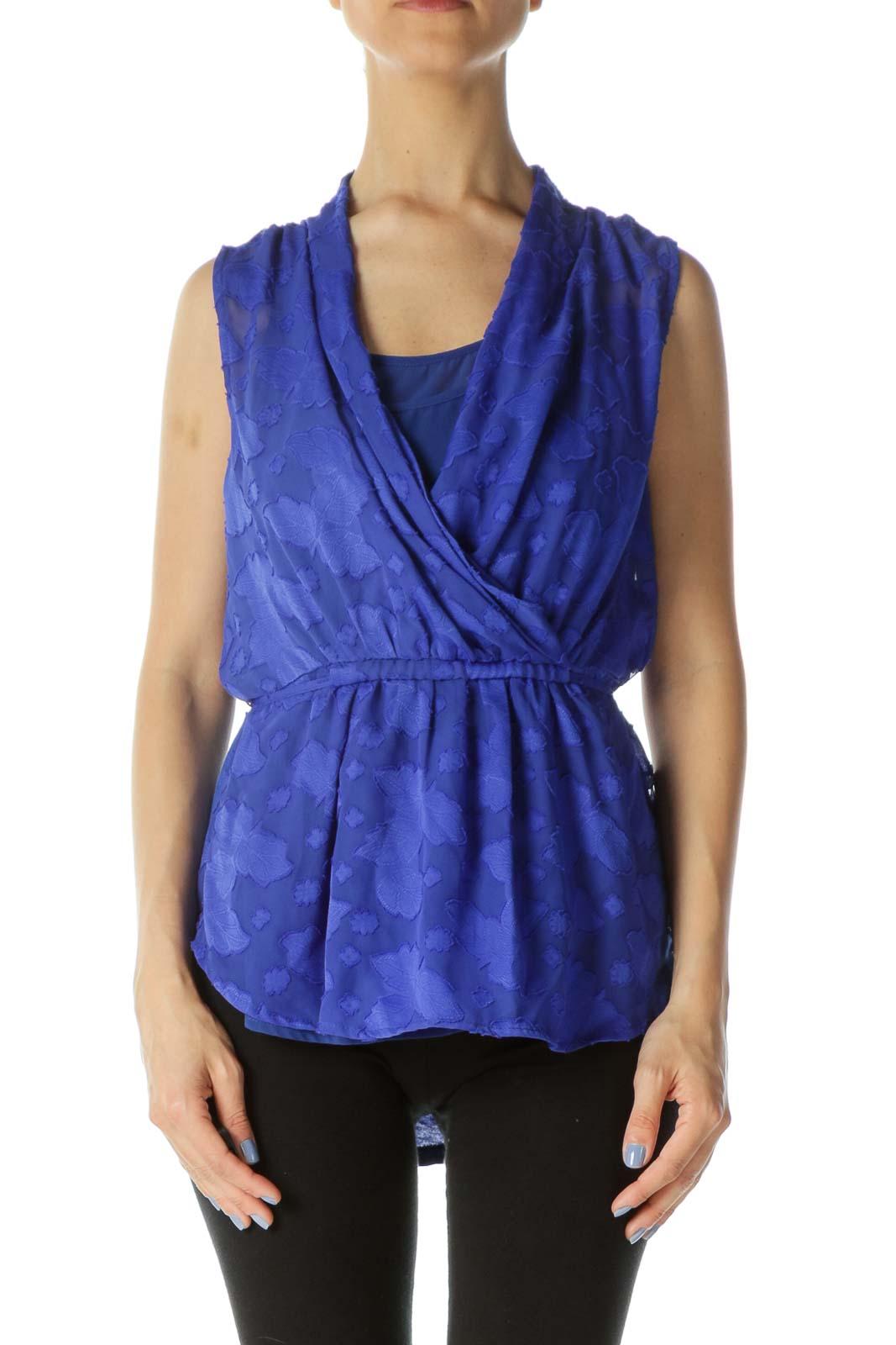 Royal-Blue Textured-Leaves Mixed-Media Sleeveless Top