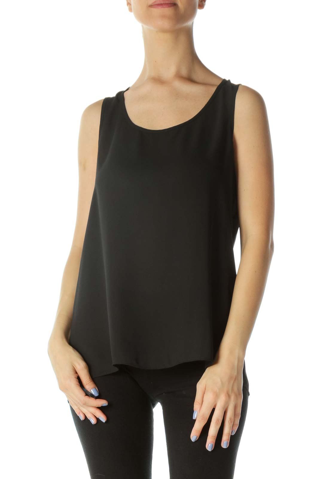 Black Sheer Round-Neck Open-Back Tank Top