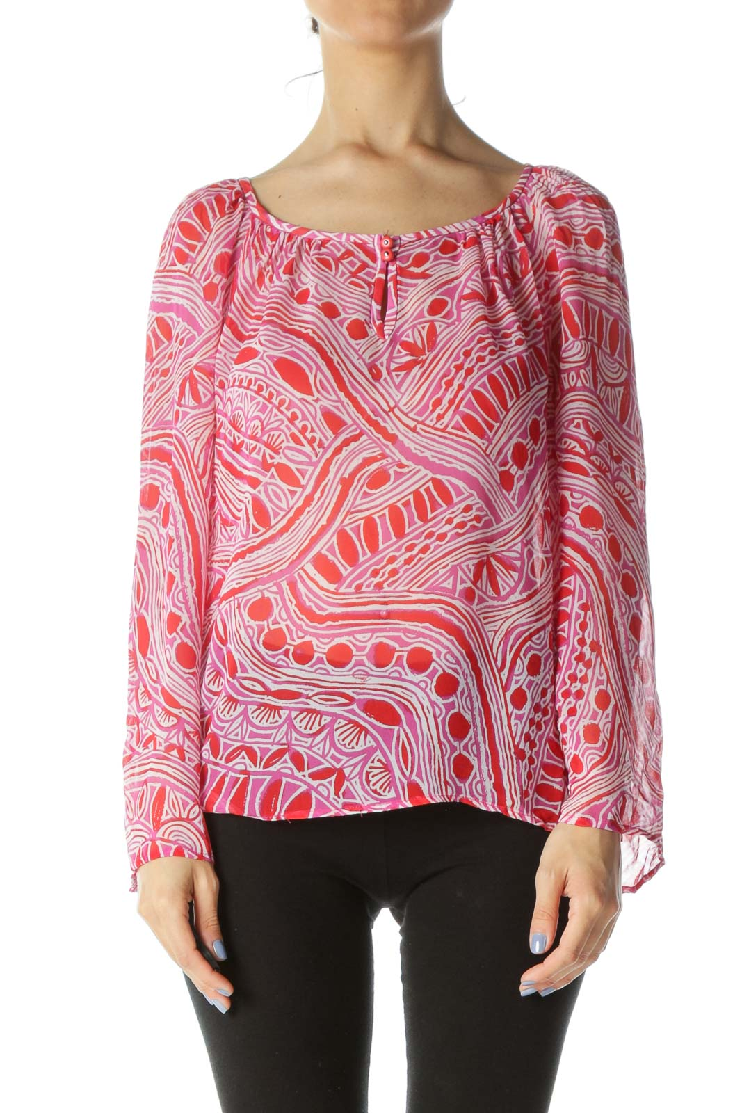 Red/Magenta-Pink/White Silk Print Keyhole See-Through Blouse