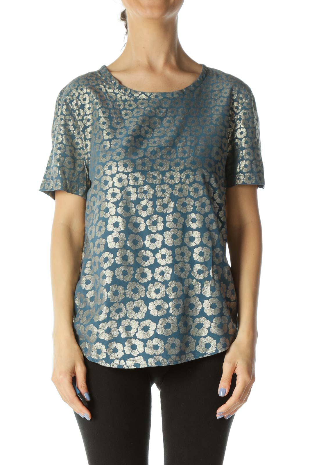 Teal-Blue/Gold Short-Sleeve Round-Neck Floral-Print Top