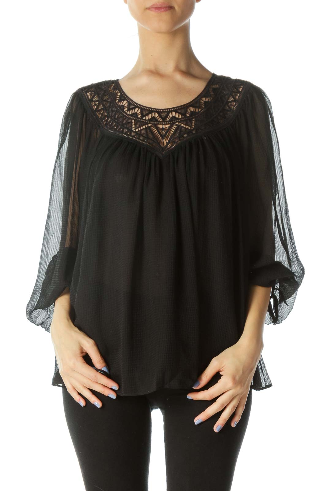 Black Lace-Detail Over-Sized Textured Long-Sleeve Blouse