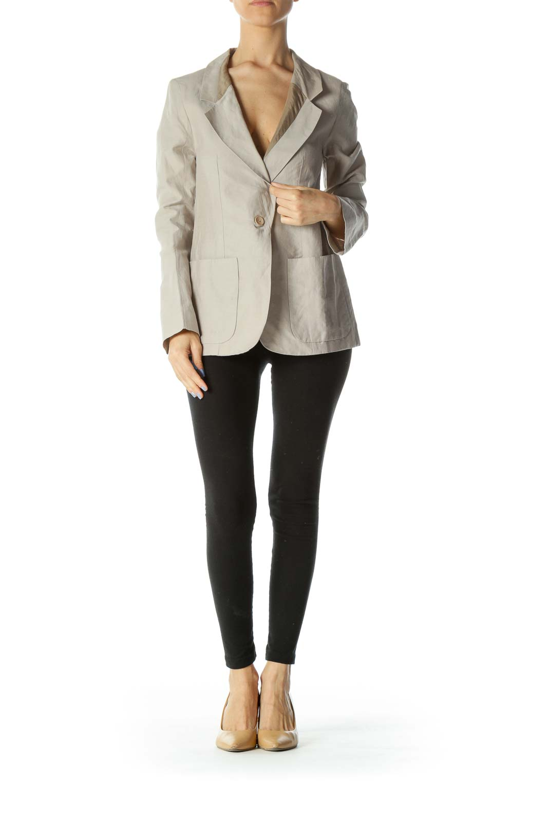 Beige Color-Blocked Designer Single Closure Blazer