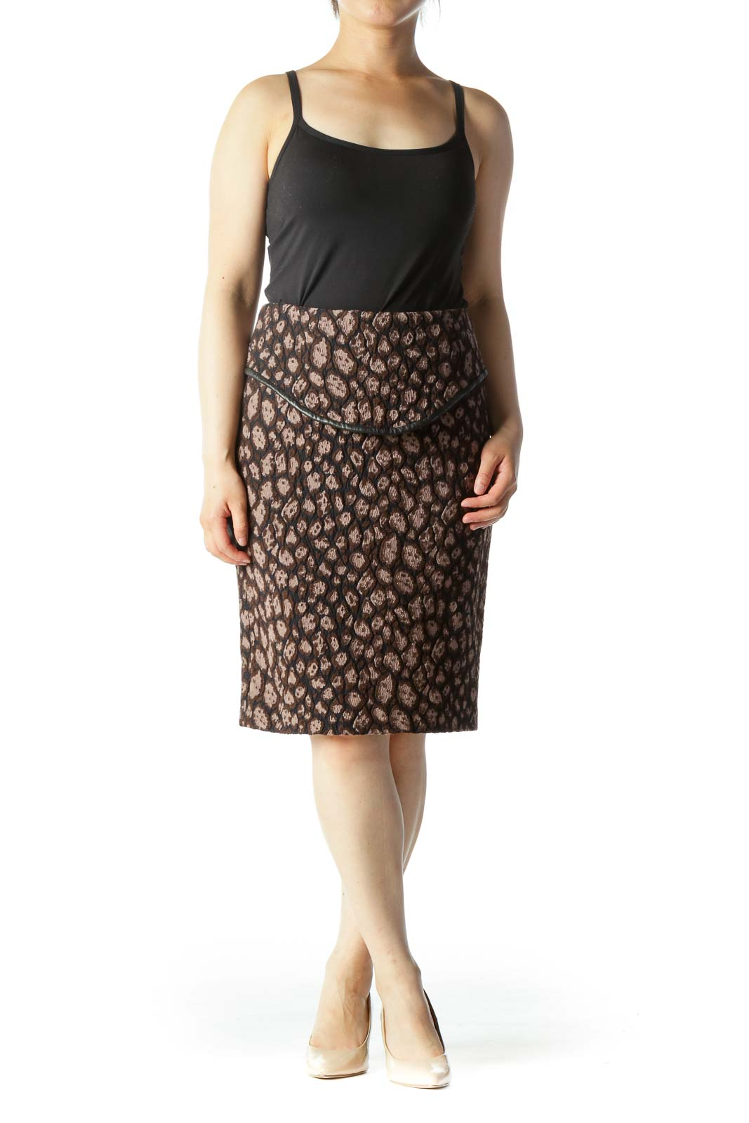 Brown Black & Beige Brocade Printed Pencil Skirt With Leather Combo