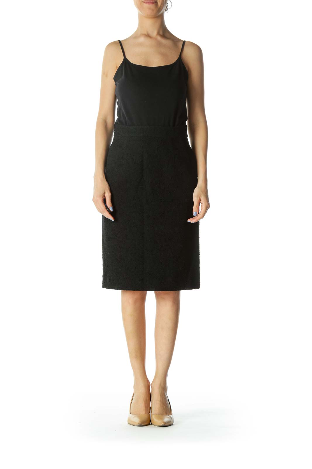 Black Textured Designer Pencil Skirt