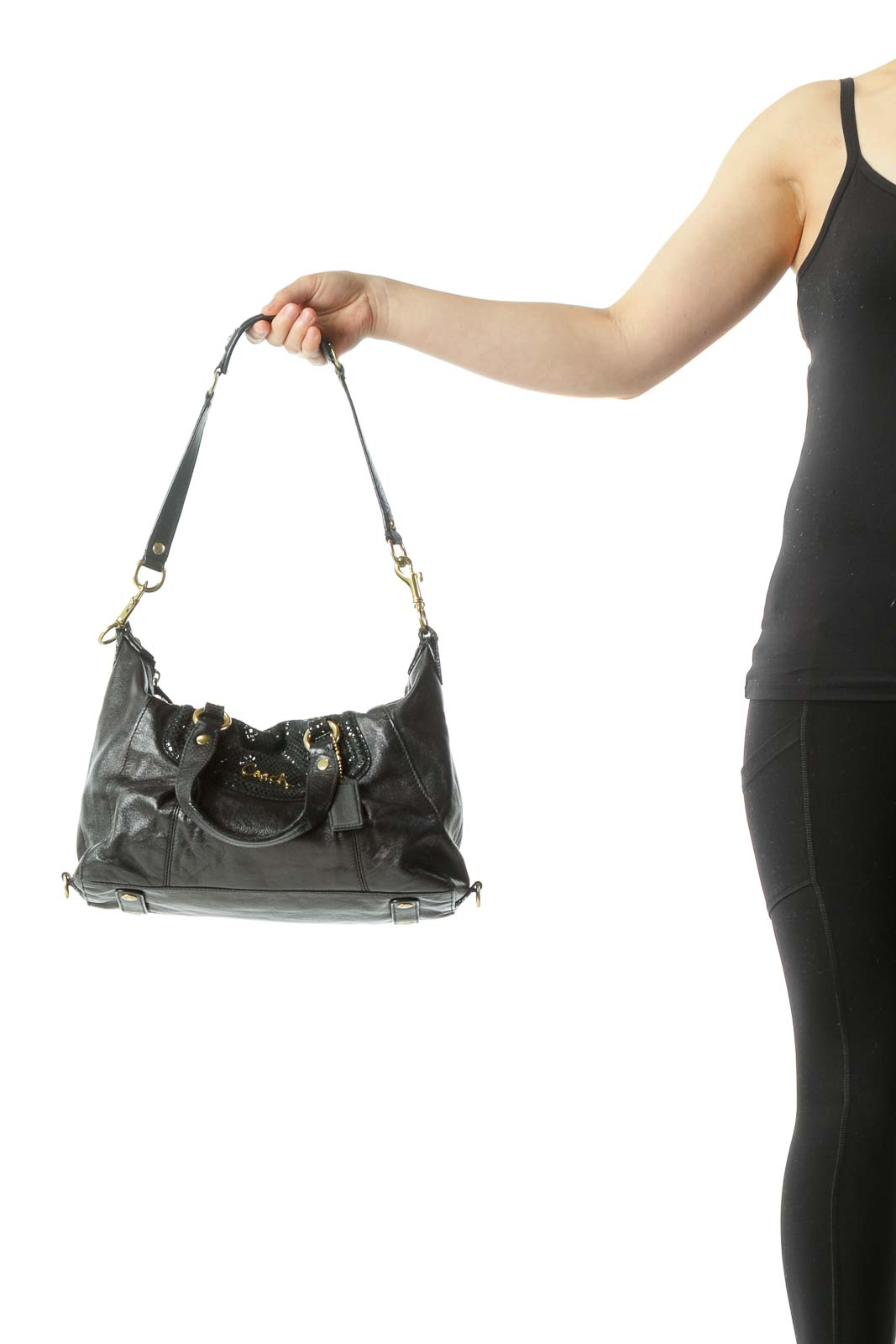 Black Gold Hardware Leather Shoulder bag