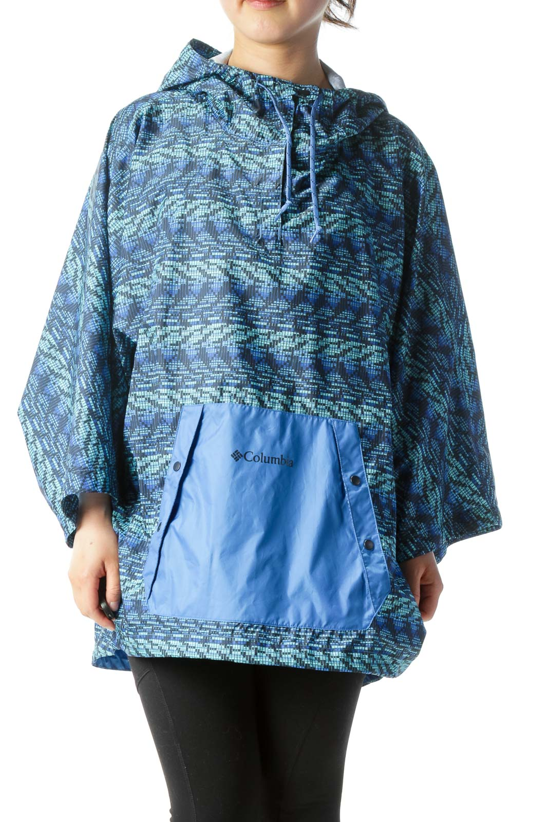 Blue Print Pocketed Hooded Short-Sleeve Wind-Breaker Jacket