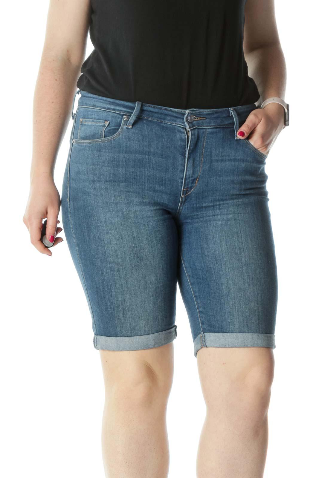 Blue Knee-Length Cuffed Denim Shorts