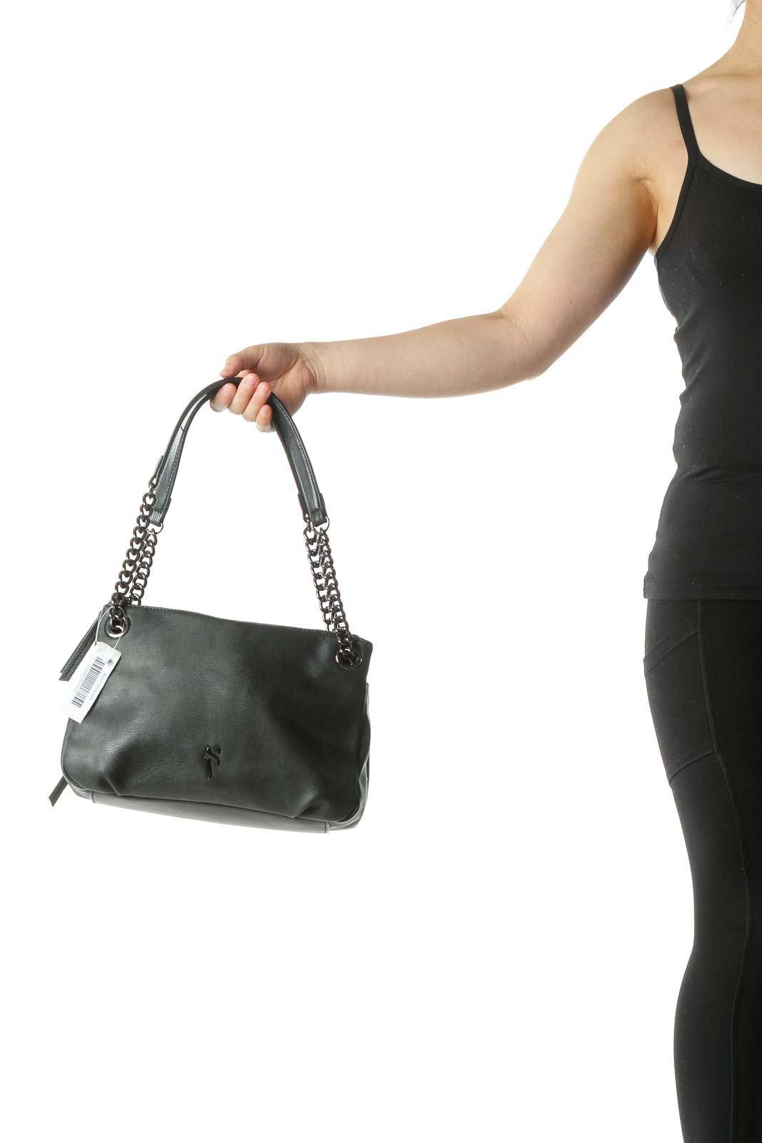 Black Multi-Pocketed Metal Detail Bag