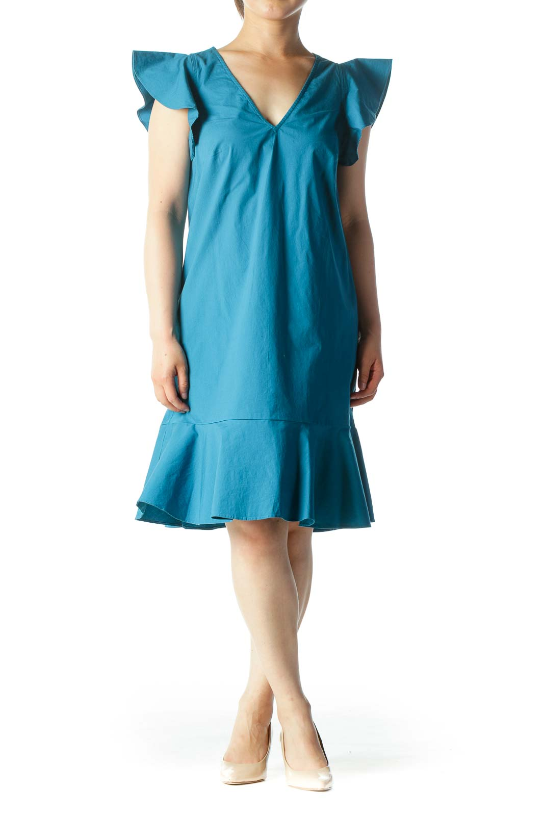 Teal V-Neck Cotton Ruffled Dress