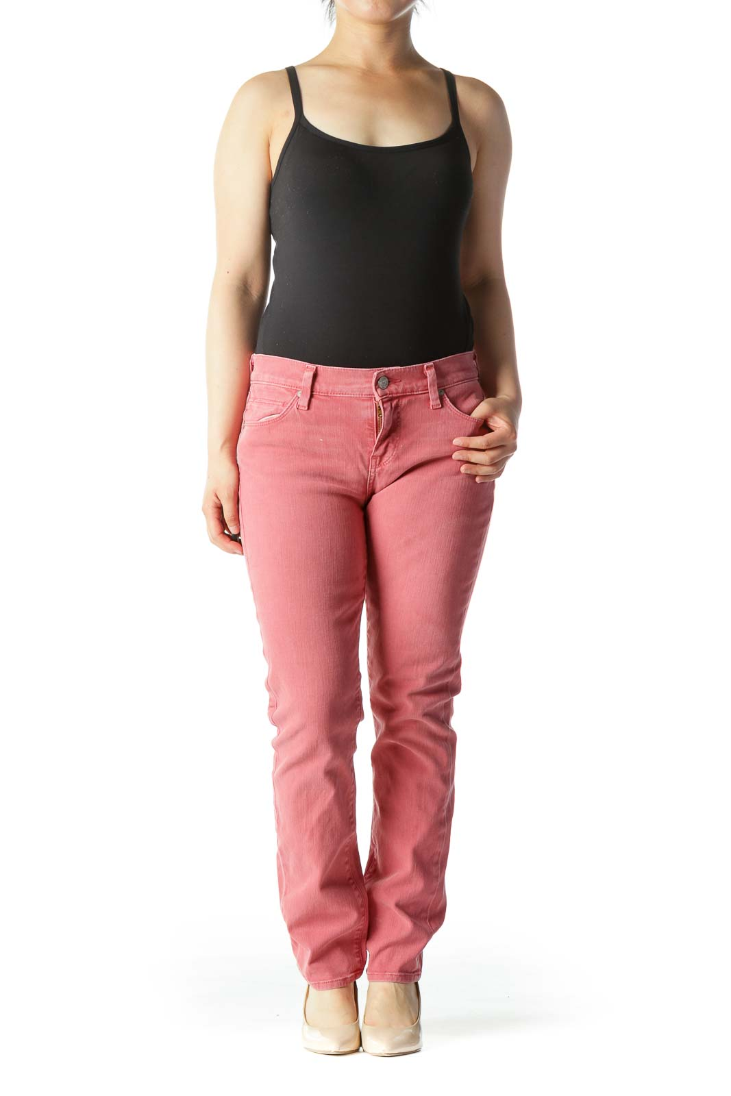 Pink Mid-Rise Slim-Straight Jeans