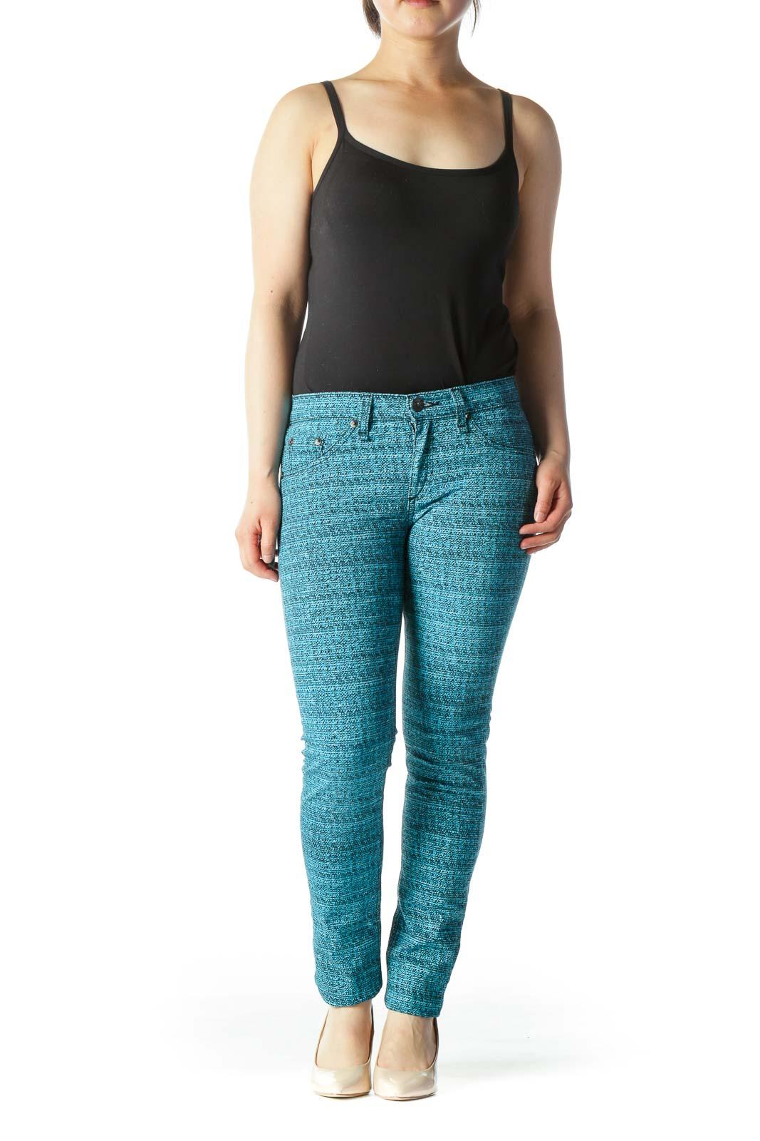 Teal Printed Skinny Pant