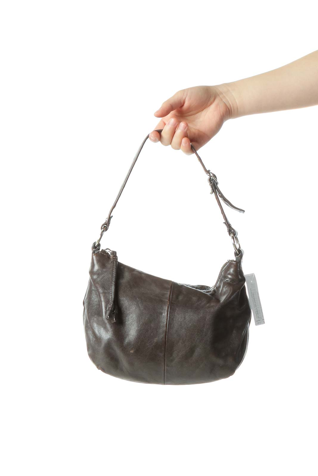 Chocolate Brown Leather Buckle Small Shoulder Bag