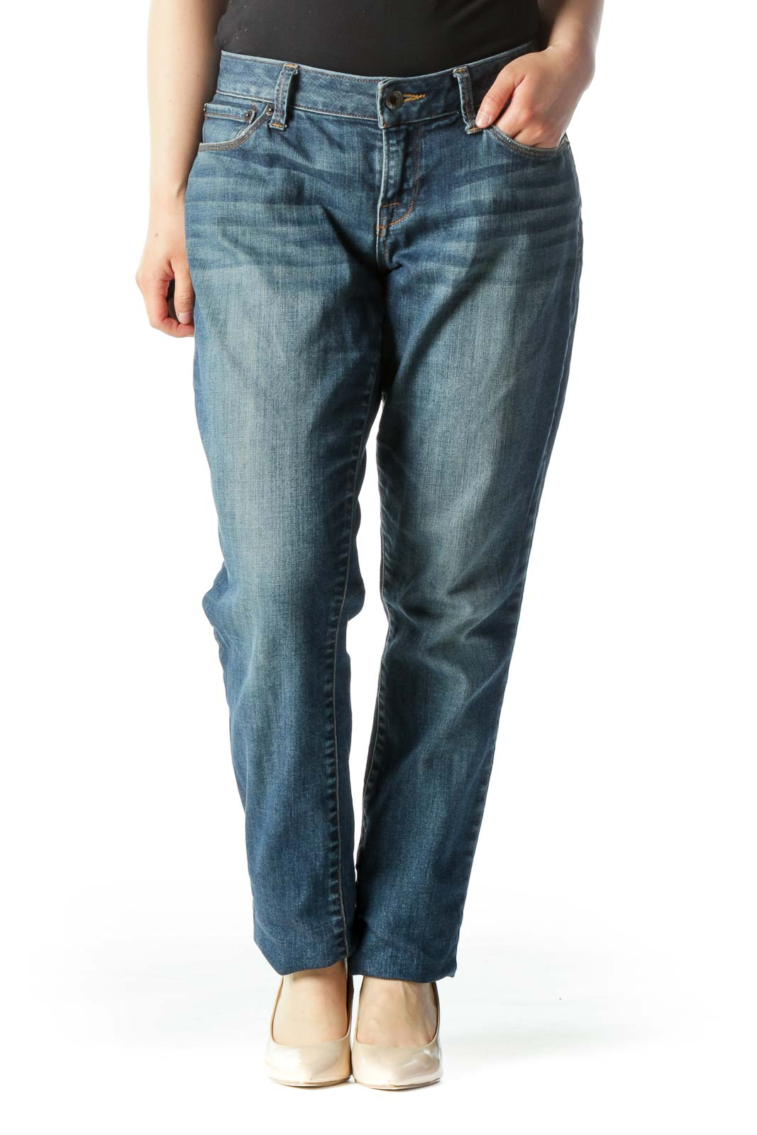 Blue Mid-Rise Whiskered-Wash Skinny Jeans