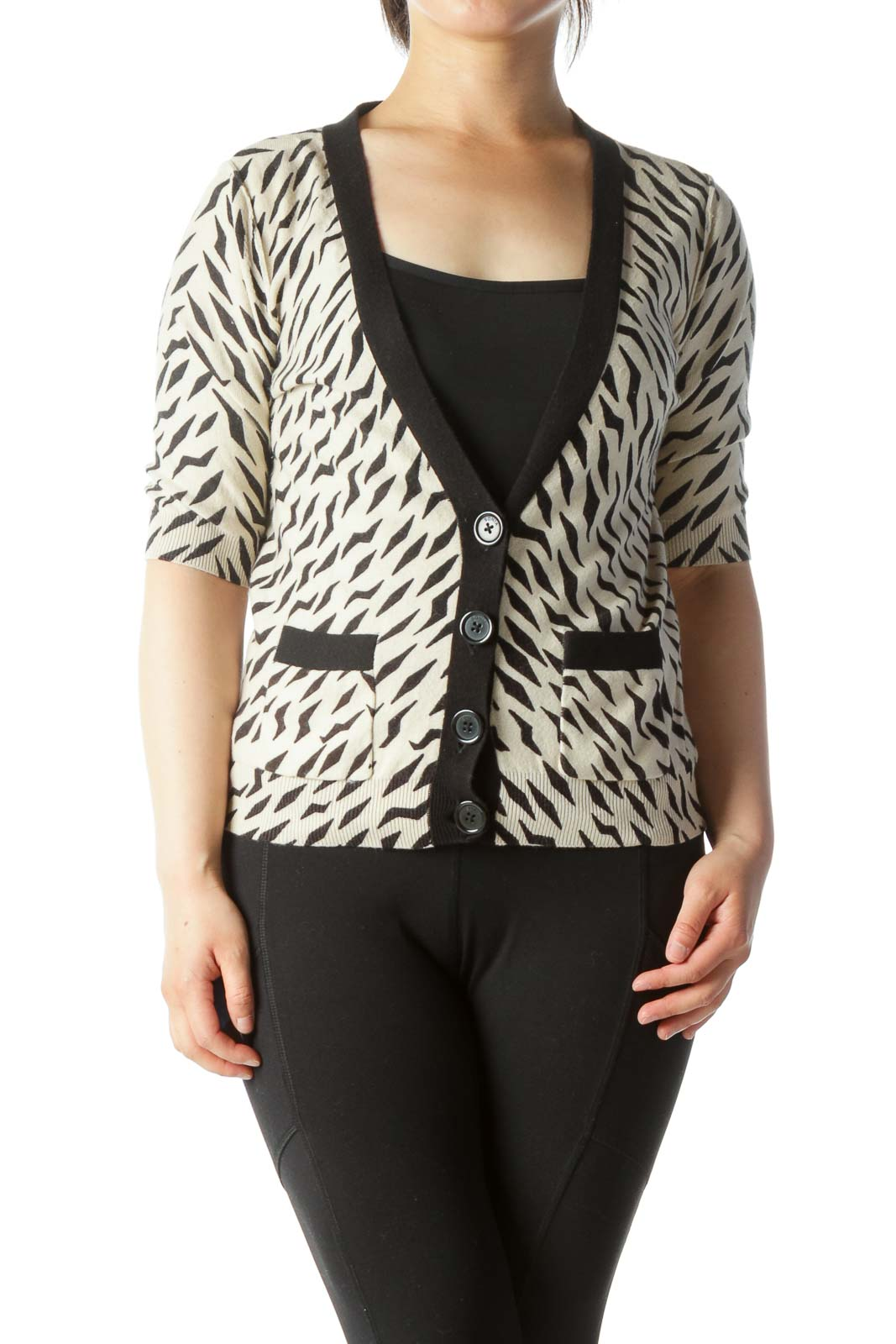 Beige Animal Print Cropped Cardigan