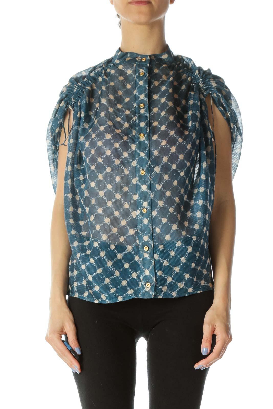 Blue & Beige Printed Designer Over-Sized Translucent 100% Silk Blouse