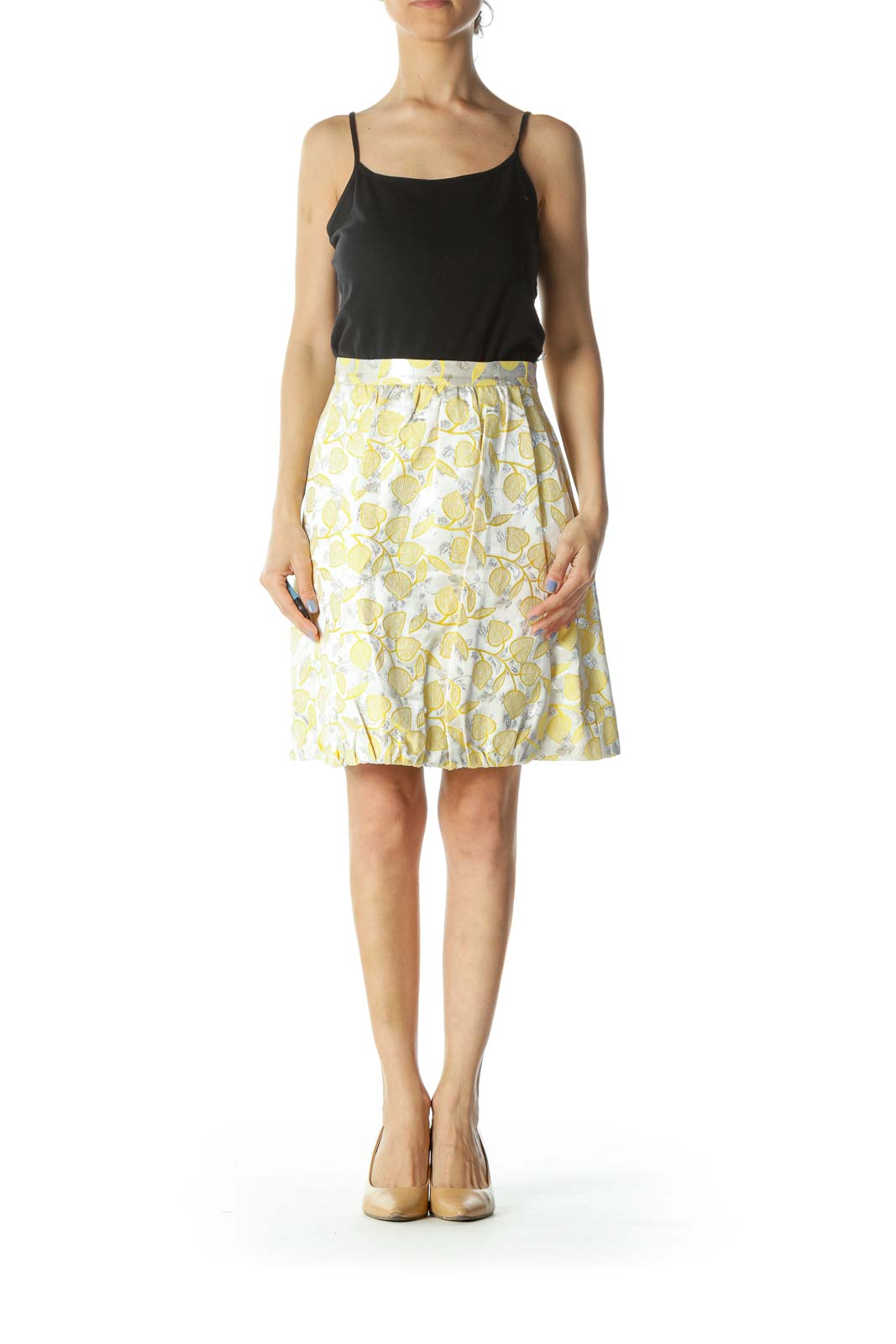 Silver & Yellow Floral-Patterned Designer Pleated Skirt