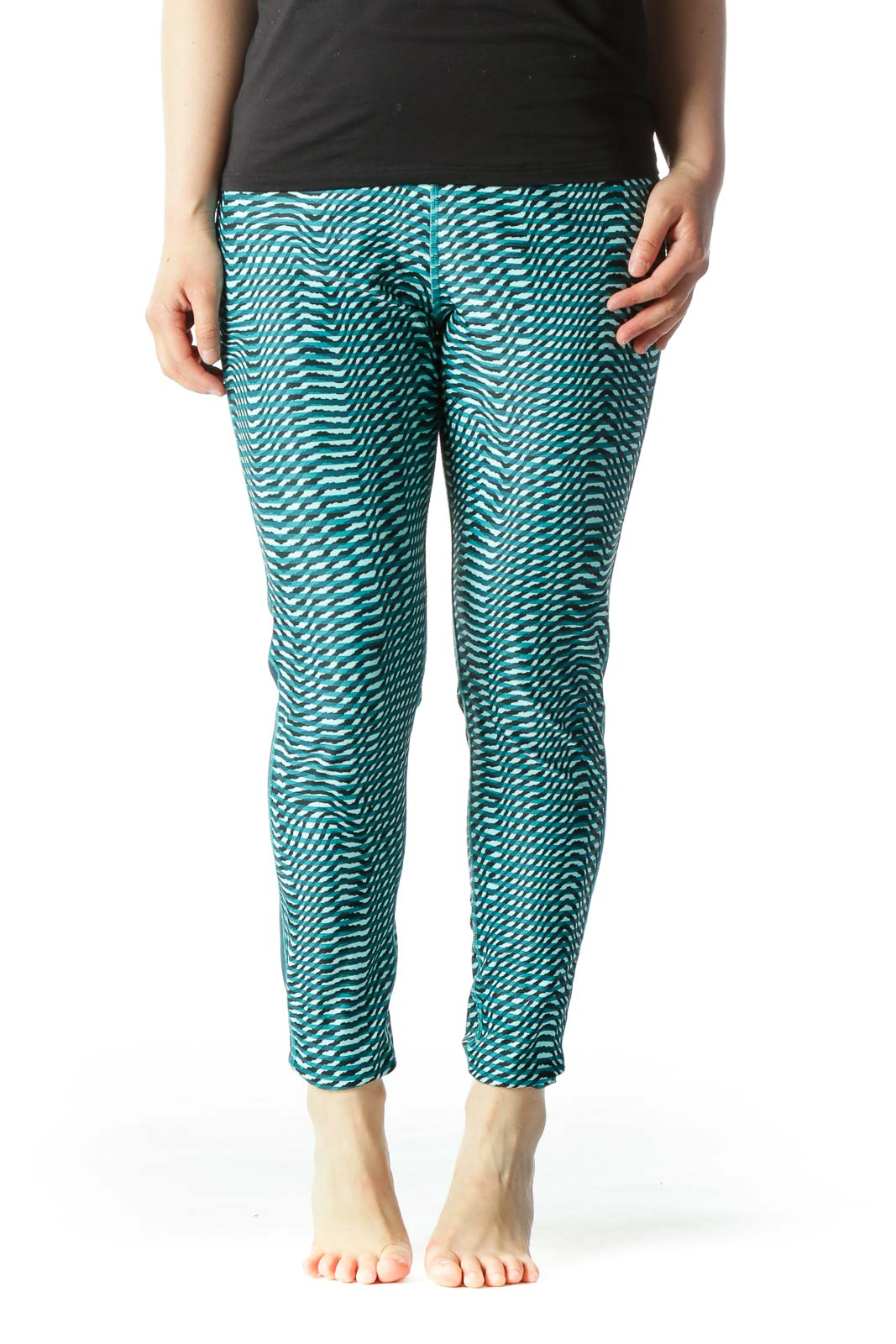 Green & Black Printed Color-Blocked High-Waisted Yoga Pants