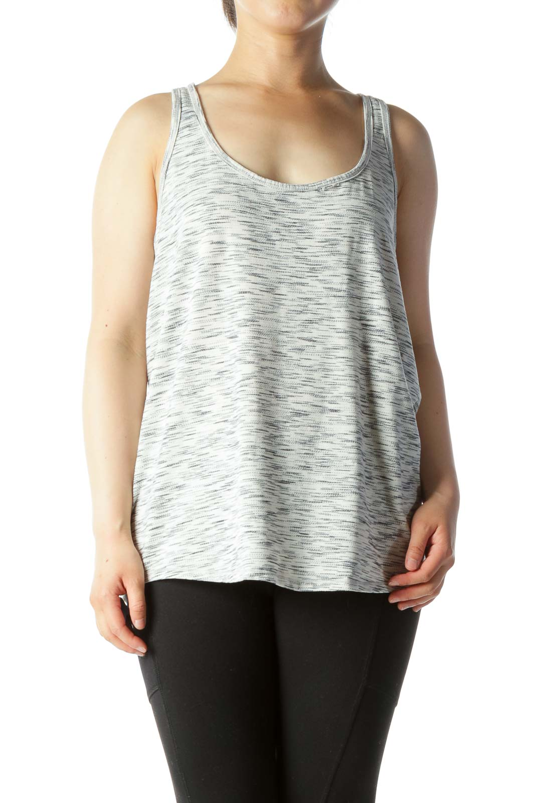 Gray White Textured Print Racerback Active Top