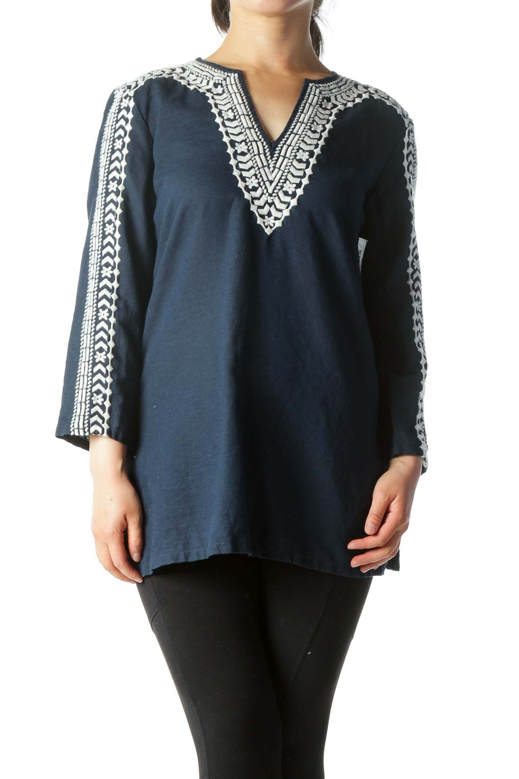Navy-Blue White Embroidery Detail Knit Tunic Top