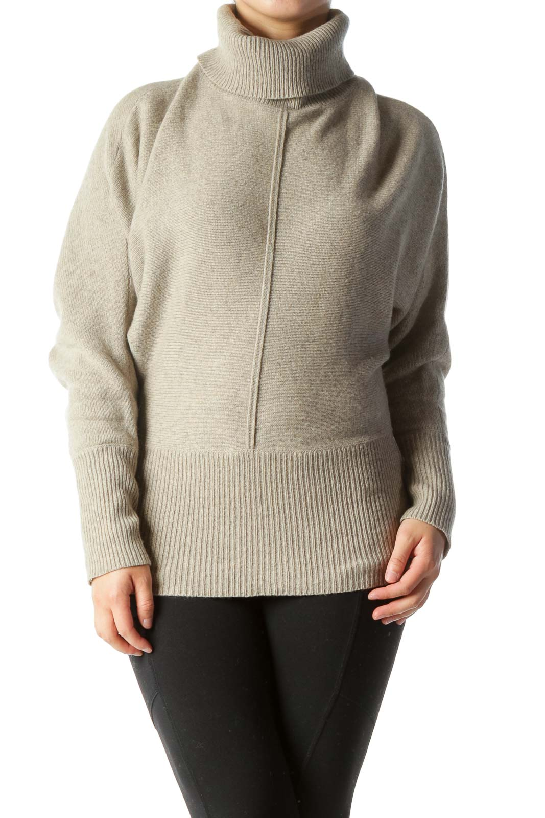 Beige Gray Turtle Neck Bat-Sleeve Slim-Waist Knit Sweater