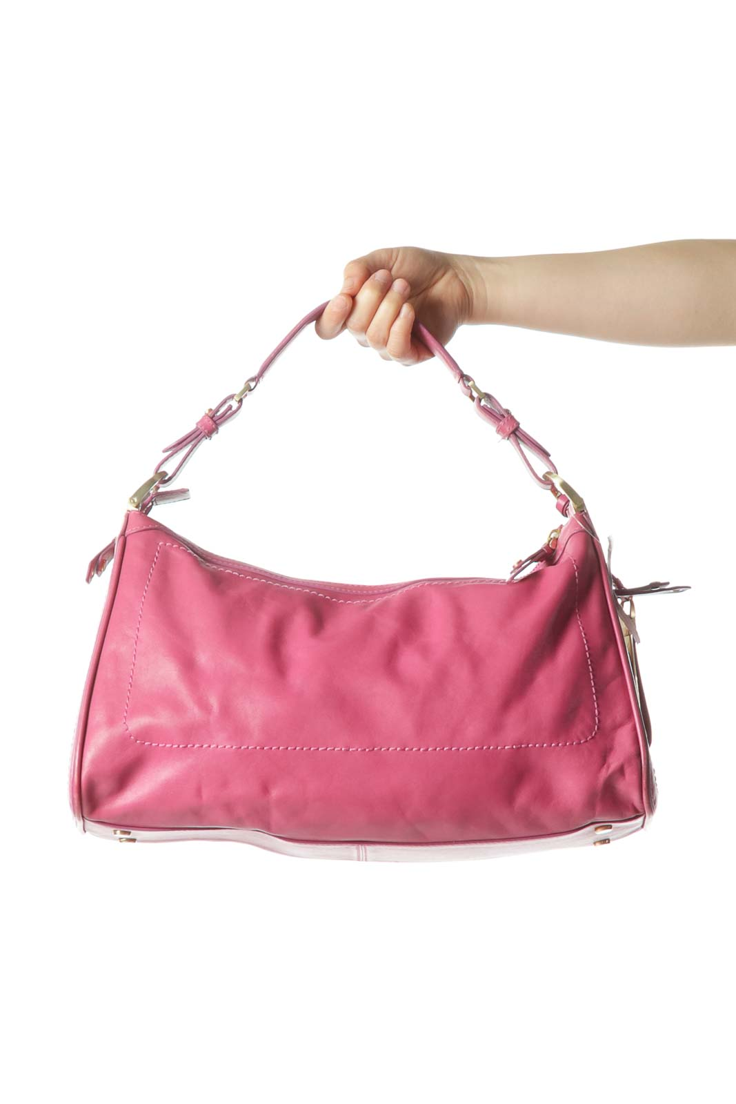 PinkZippered Shoulder Bag with Side Pockets