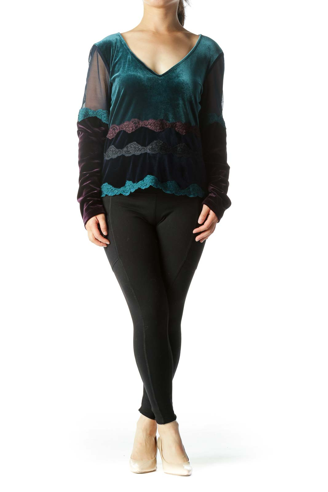 Teal Purple Navy Blue V-Neck Faux-Velvet Lace Long-Sleeve Top