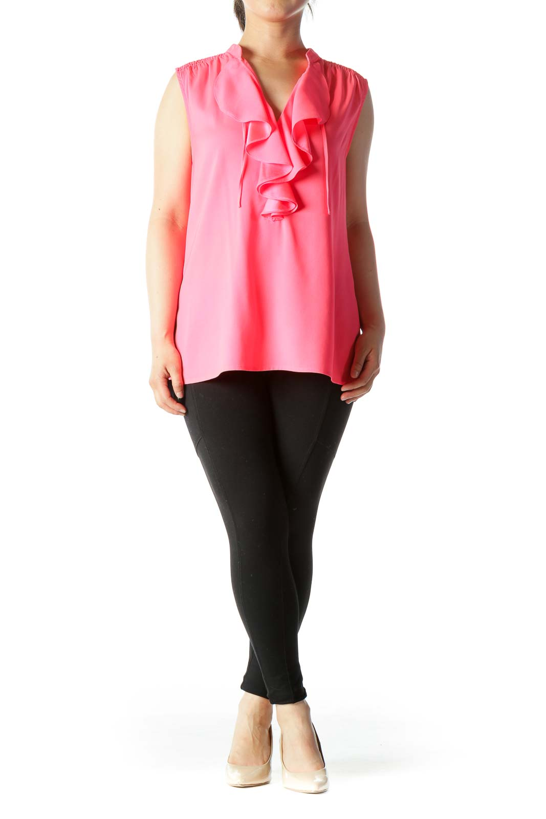 Bright Pink Ruffled V-Neck Stretch Tank Top