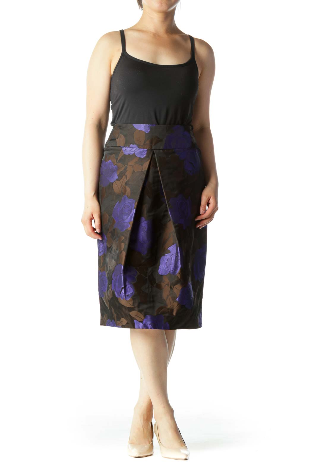 Purple & Brown Floral Print Designer Pleated Pencil Skirt