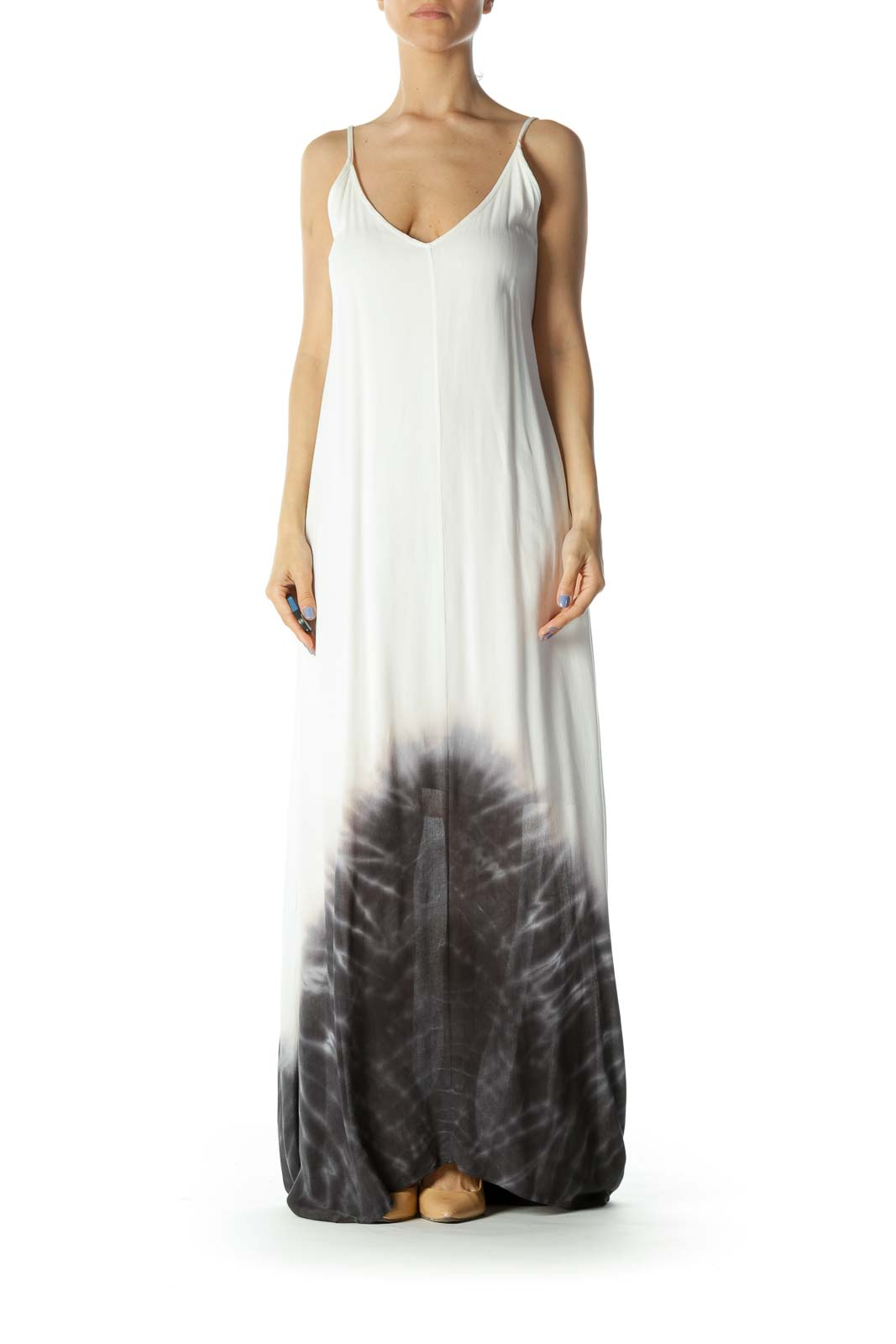 Cream/Gray Tie-Dye Print V-Neck Lined Maxi Dress