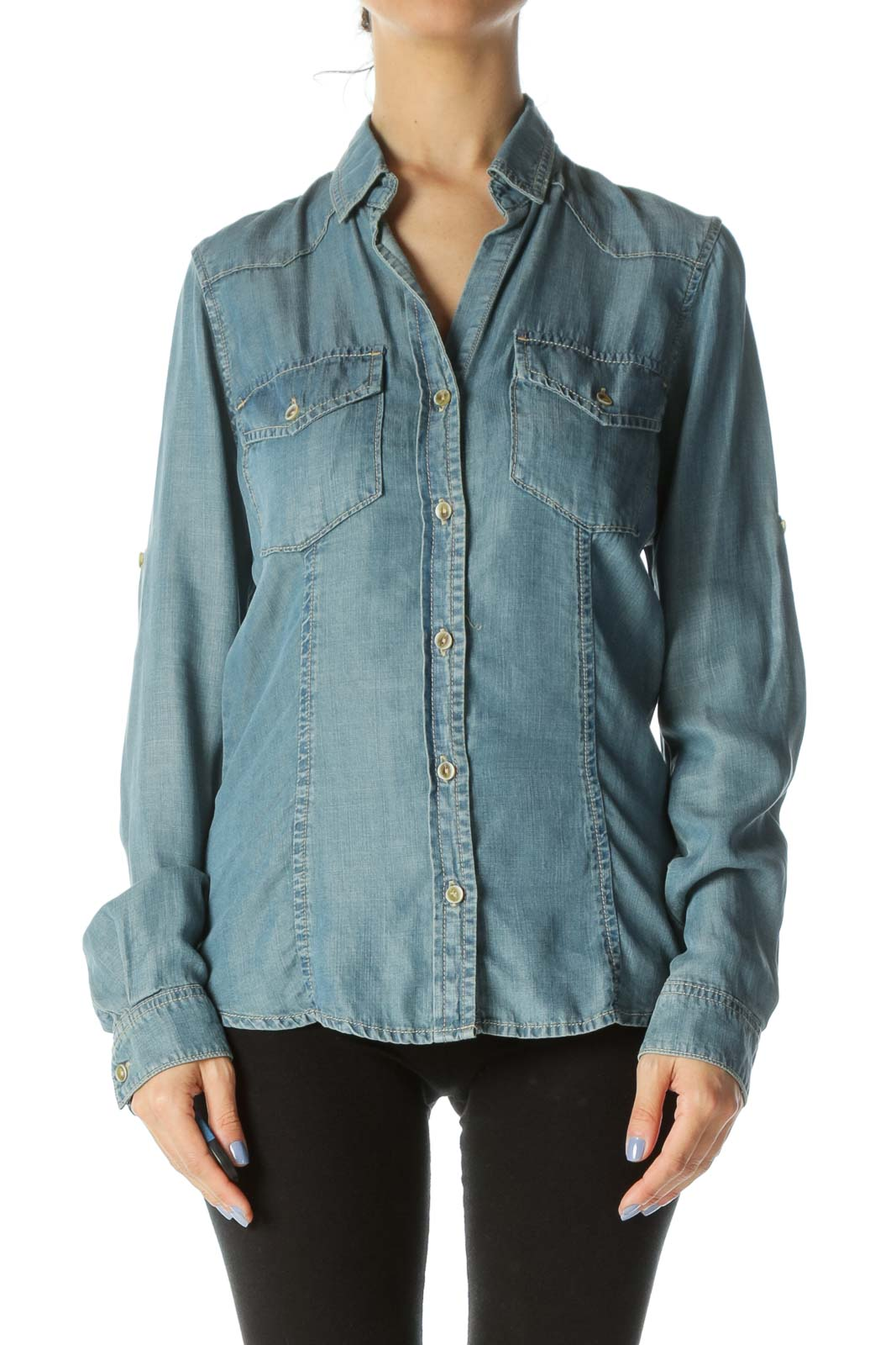Blue Buttoned Pocketed Long Sleeve Denim Shirt