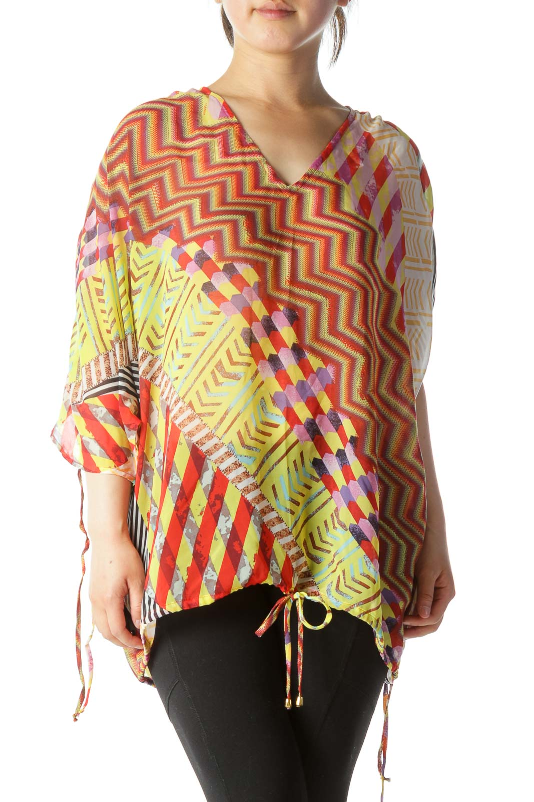 Red Yellow Print See-Through Blouse