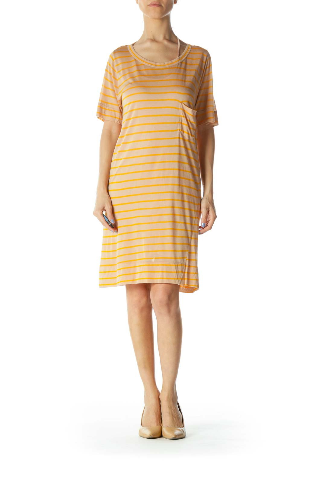 Beige & Orange Striped Designer Knit Shirt Dress