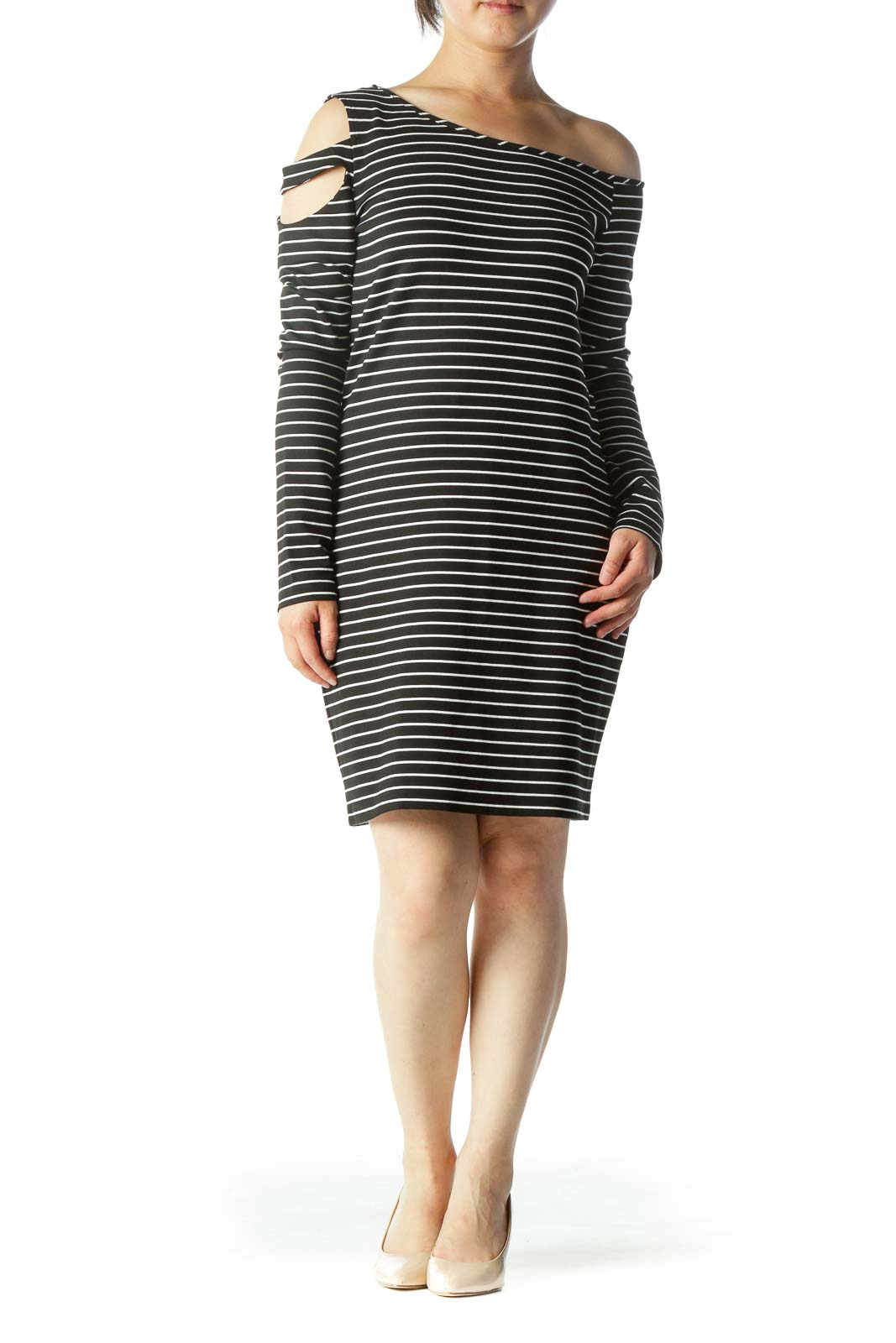 Black & White Striped Long-Sleeve Off-Shoulder Cut-Out Knit Dress