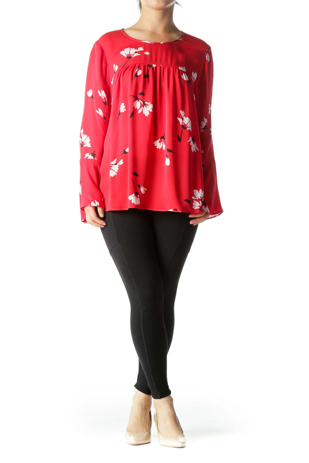Red Black White 100% Silk Floral-Print Long-Flared-Sleeves Blouse