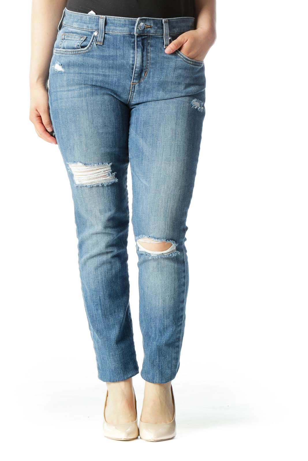 Light Blue High-Rise Distressed Skinny Jeans