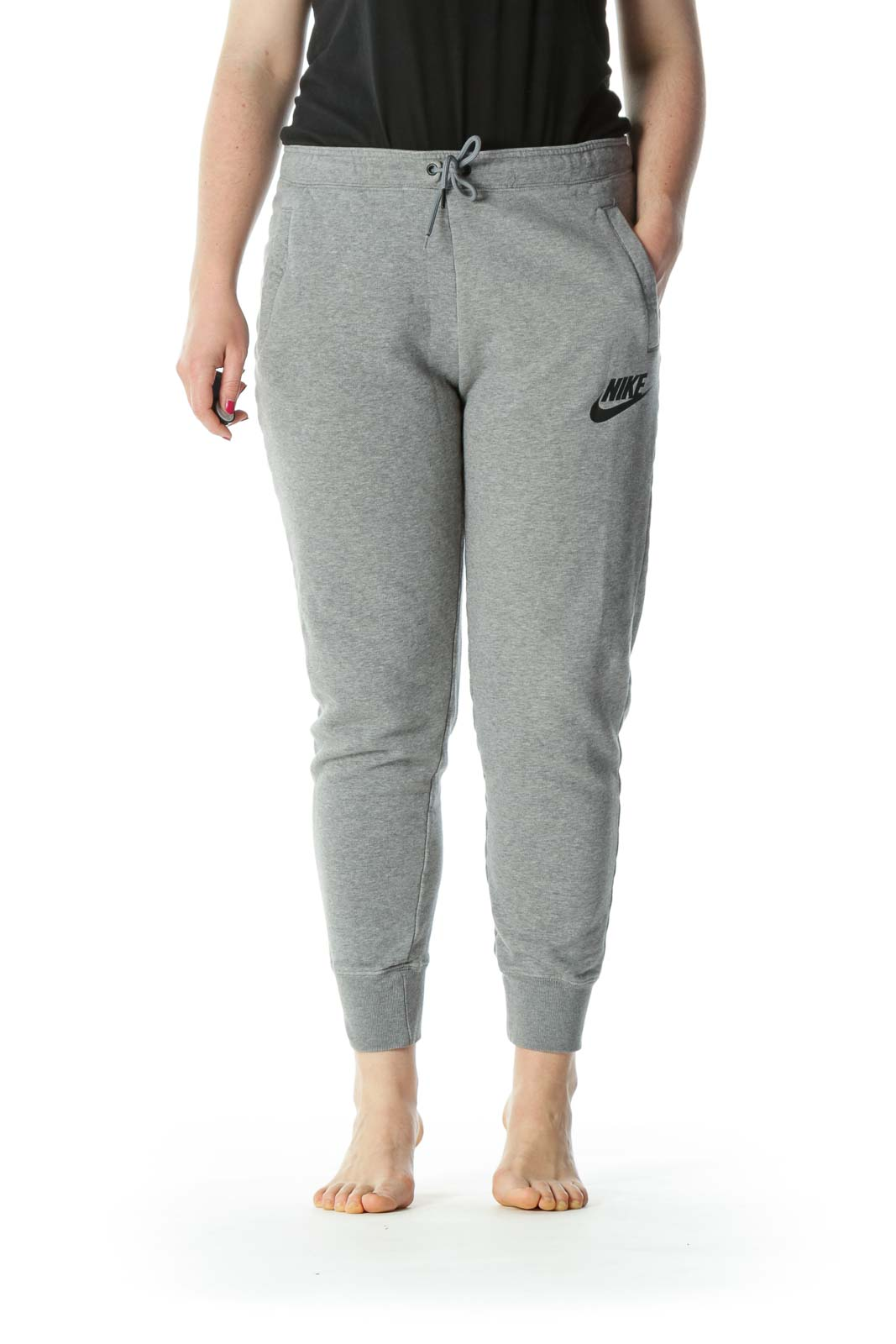 Gray Logo Pocketed Sweat Pants