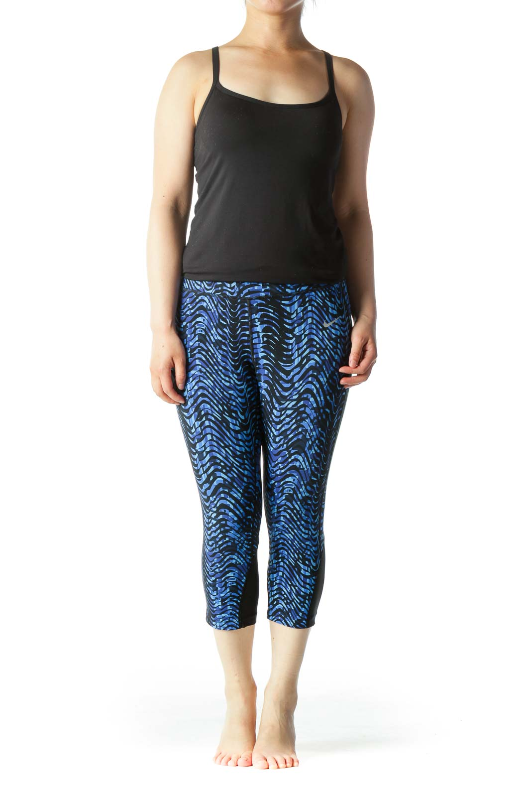 Blue & Black Cropped Leggings with Mesh & Reflective Details & Front/Back Pockets
