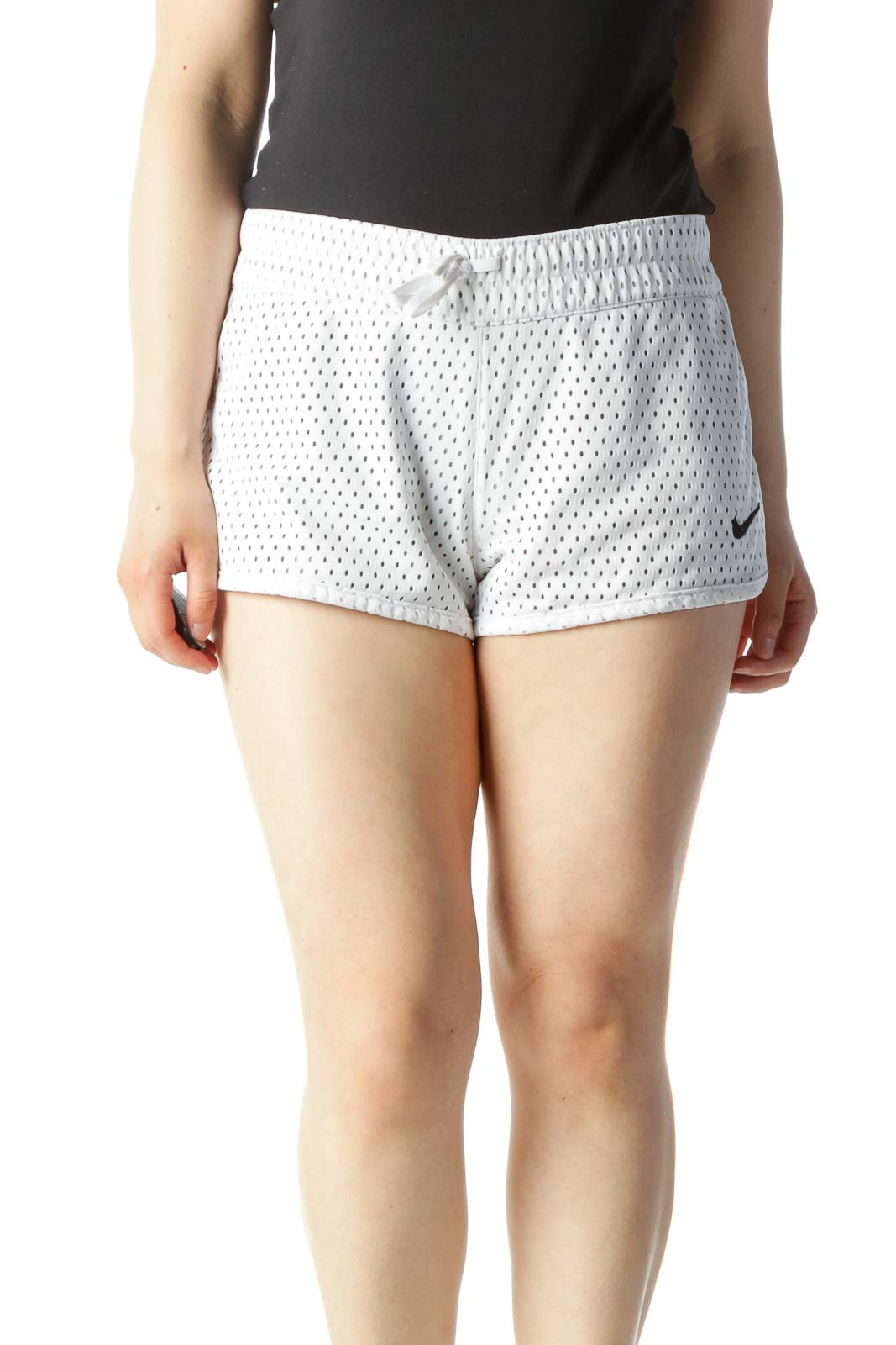 White Cut-Out Mid-Rise Running Shorts