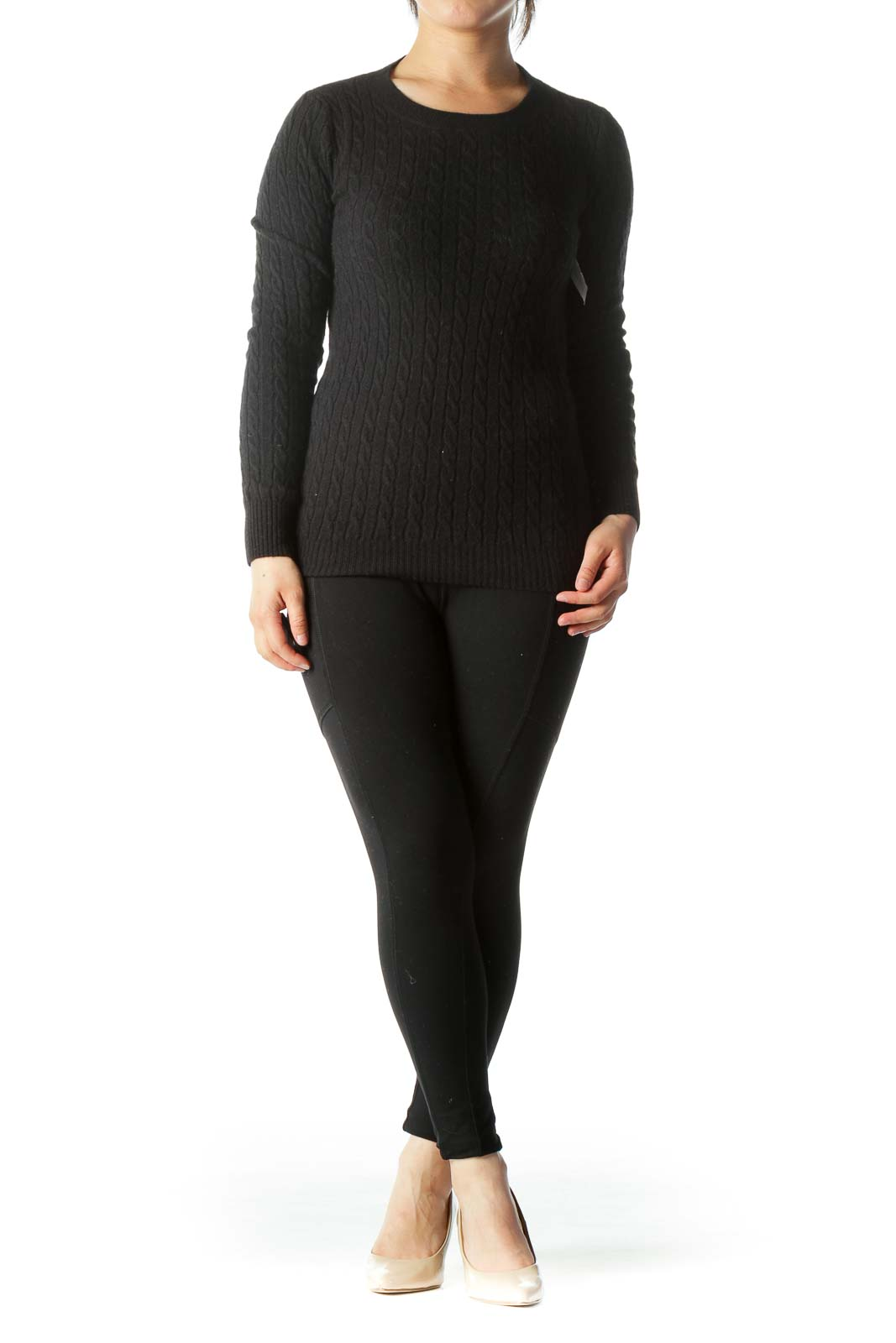 Black Cable-Knit Cashmere Wool Blend Sweater