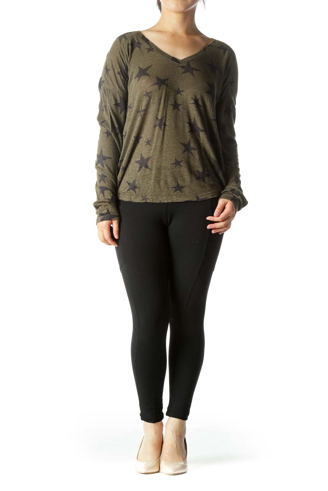 Olive Green Black V-Neck Star-Print Long Sleeve Top