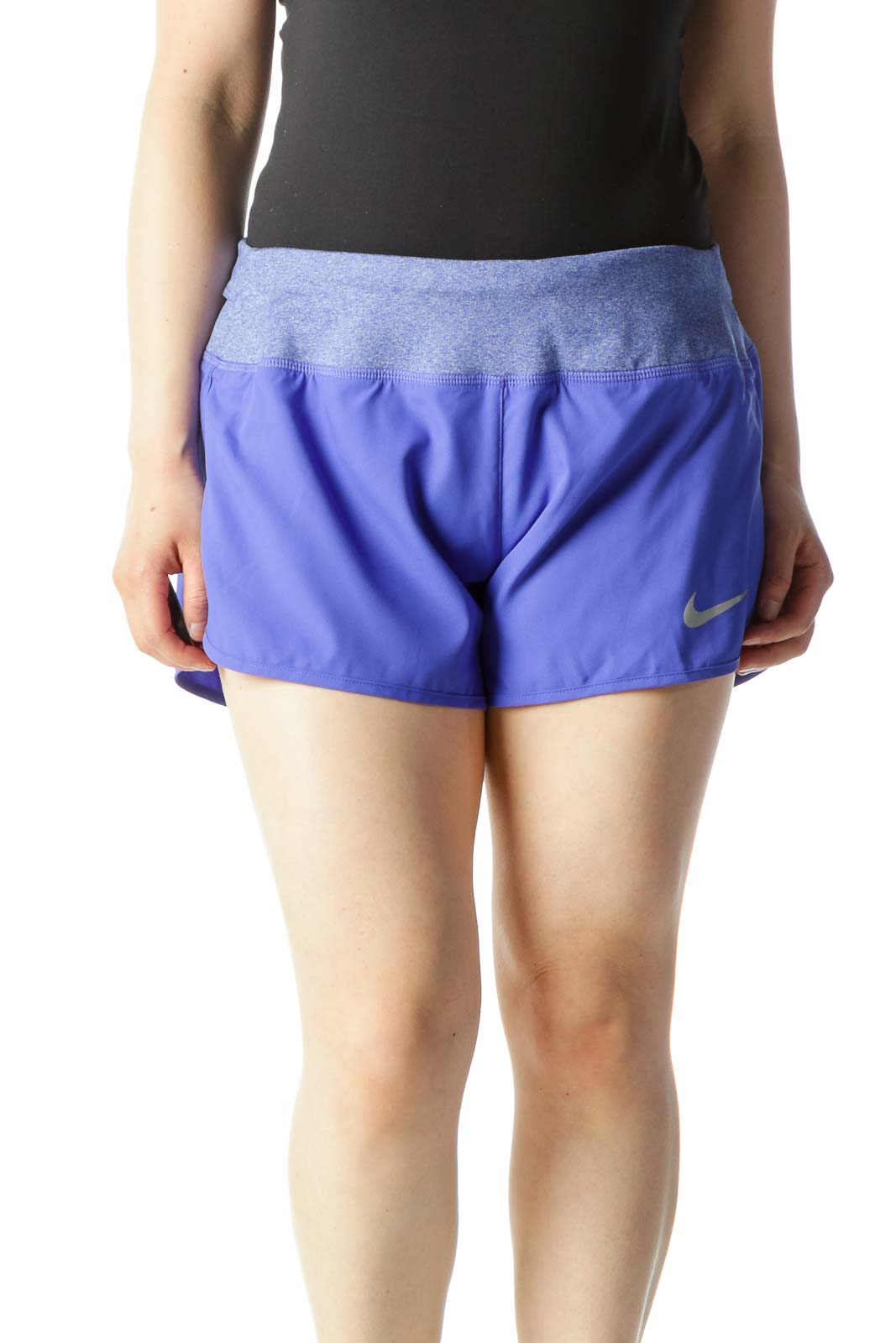 Purple Pocketed Running Shorts with Heather Waist-Band