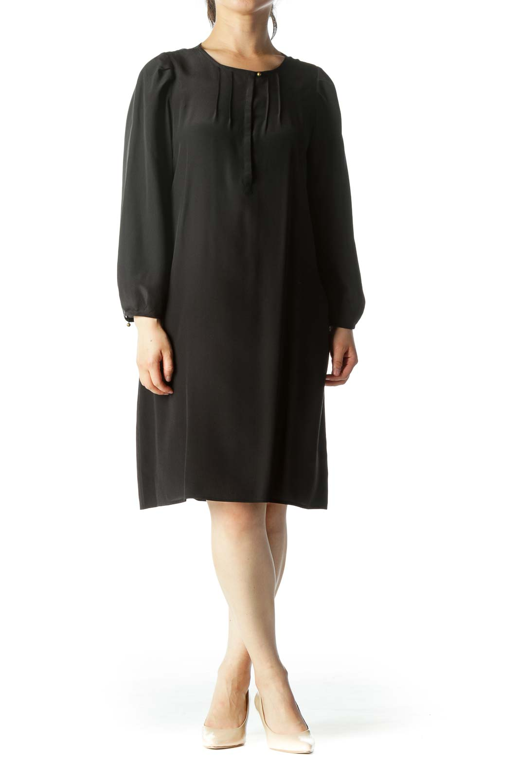 Black 100% Silk Chest-Pleated Buttoned 3/4 Sleeve Peasant Cocktail Dress