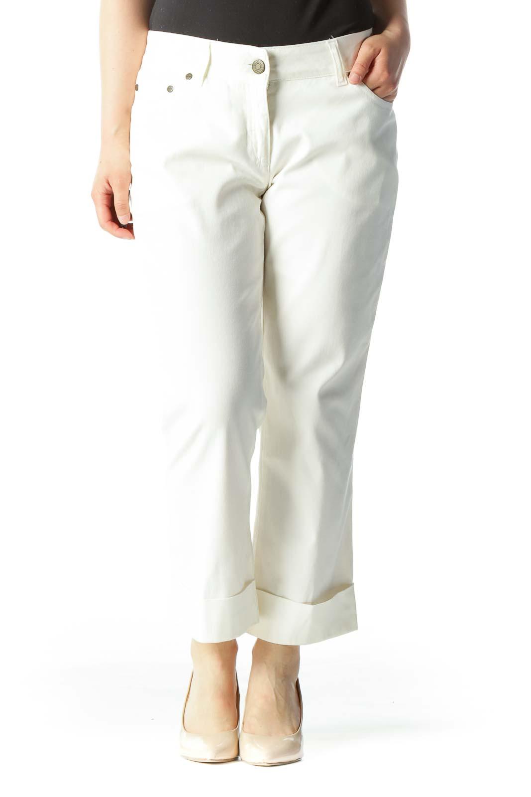 Cream Designer Cropped Cuffed Skinny Jeans